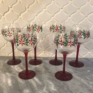 Other - 6 Hand Painted Holiday Wine Glasses